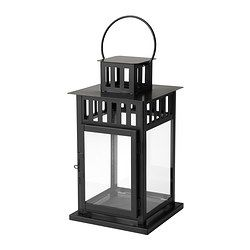 BORRBY Lantern for block candle, black indoor/outdoor black - IKEA