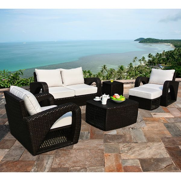 Corvus Settina 6-piece Resin Wicker and Sunbrella Outdoor Furniture Set - Overstock.com. Another option for outdoor seating off the formal living room.  Love the lines on this set.