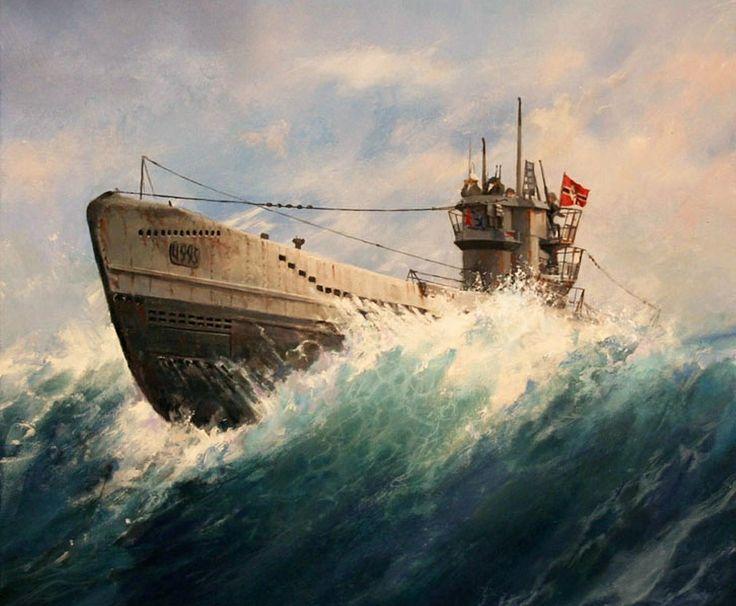 U-boat- a German submarine used in World War I or World War II.