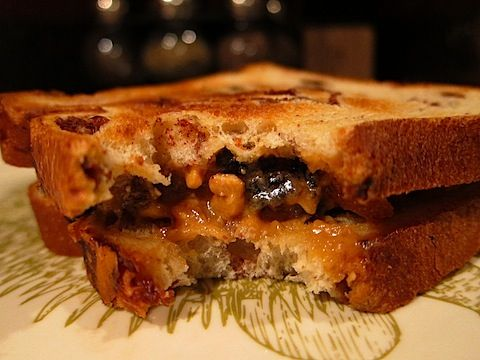 Peanut Butter, Apricot and Walnut Sandwich. Looks gooey and delicious!