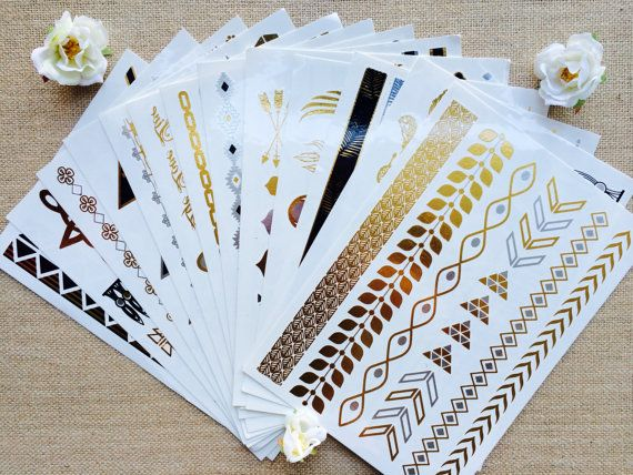 You Pick Three - Metallic Tattoo Sheets (A through L) - See Description for Instructions