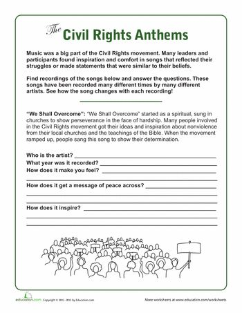 Civil Rights Songs Worksheets And Social Studies
