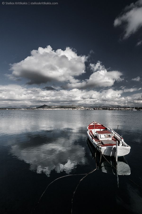 sky, landscape, red, reflections, sea, color, water, boat, reflection, greece, blue, clouds, white, fish, fishing, cloud, relax, harbor, nafplio, its_me, argolida
