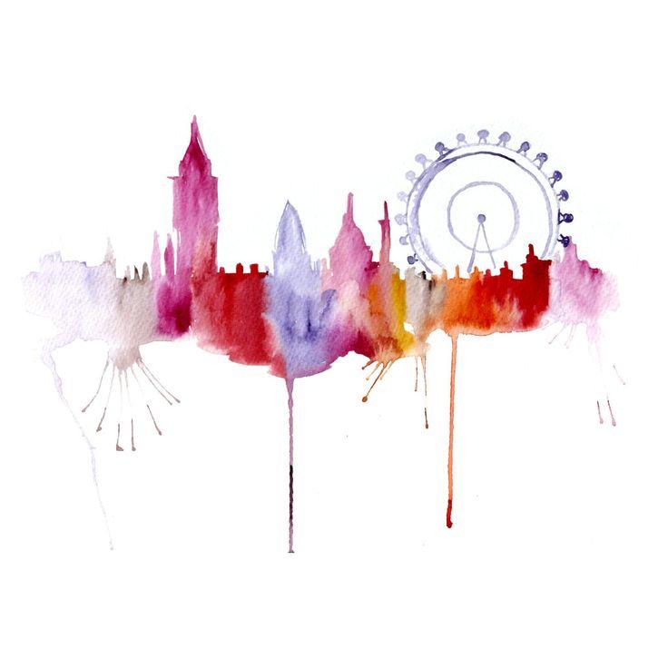 London illustration ART PRINT 13X19 watercolor painting. $45.00, via Etsy.