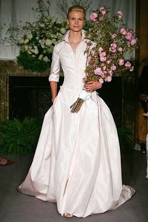 My wedding dress: Carolina Herrera pink shirtdress gown. 5 years later and I still love the shit out of this one