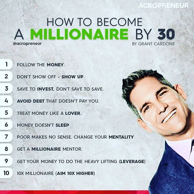 How To Become A Millionaire By 30 Do You Agree Business Money Grant Cardone Quotes Finance Investing