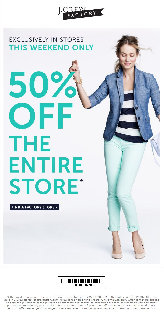 Extra 50% off everything at J.Crew Factory locations coupon via The Coupons App