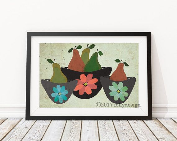 Artist Shanni Welsh's Pears and Mixing Bowls kitchen art print.
