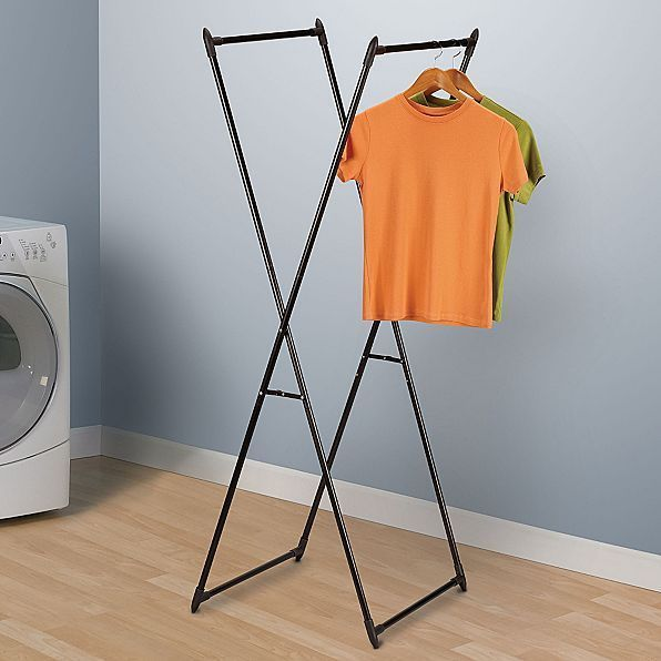 2 In 1 Folding Clothes Rack Laundry Dryer Valet Hangers Light Portable Storage