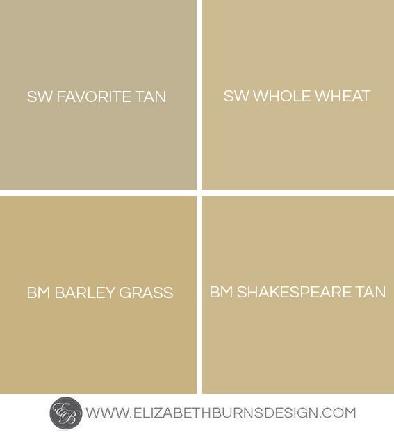 Elizabeth Burns Design | Favorite Gold Paint Colors: Sherwin Williams Favorite Tan, Sherwin Williams Whole Wheat, Benjamin Moore Barley Grass, Benjamin Moore Shakespeare Tan