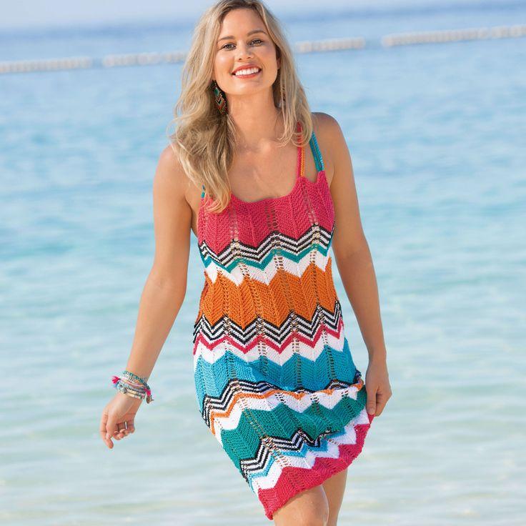 Разноцветное платье с зубчатым узором