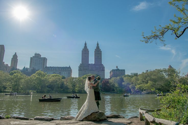 just married, by the Lake in Central Park