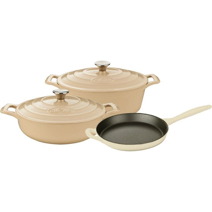 pro 5piece enameled cast iron cookware set with saute skillet and oval casserole
