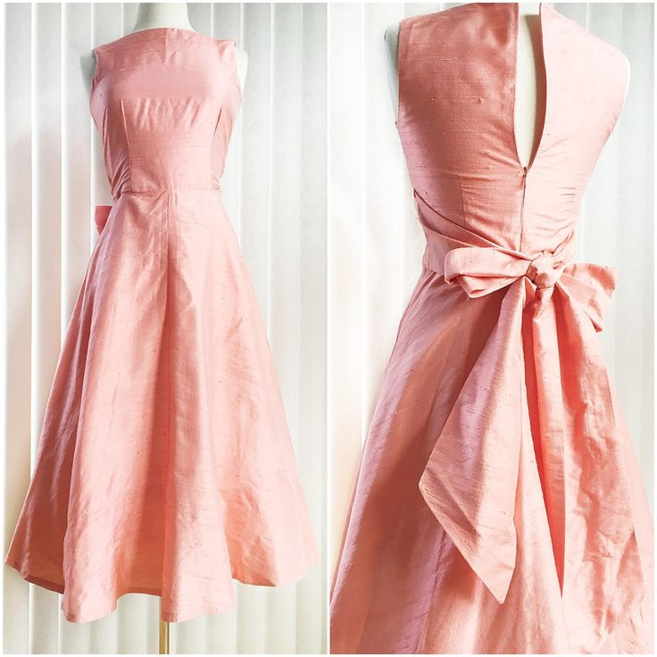 Vintage 60s coral cocktail dress/ raw silk/ formal party dress/ large sash bow…