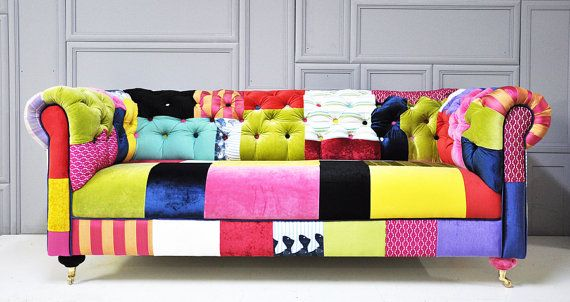 Items similar to RESERVED ITEM for KSENIA: colorful chesterfield patchwork sofa on Etsy