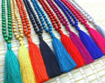 Check out Bali Tassel Necklace Wood Beaded Silk Tassel Necklace  Fashion Long Silk Tassel Necklace Gift For Her 10pcs Assorted Colors on midgetgems