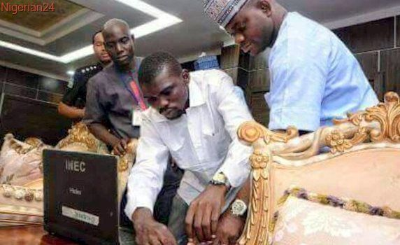 The Kogi governor was on camera registering the second time for a permanent voter card.
