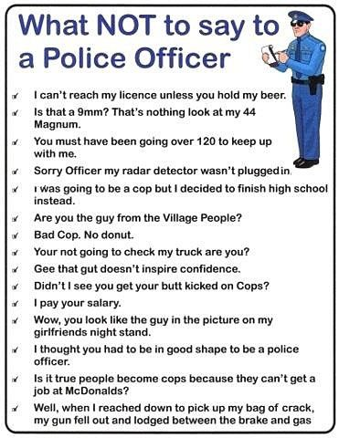 The Meta Picture -What not to say to a police officer -  pictures, quotes, film clips... some are really funny