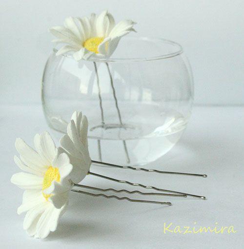 Купить Шпильки-ромашки - ромашки, цветок на шпильке, свадебные украшения, свадебные аксессуары, свадьба