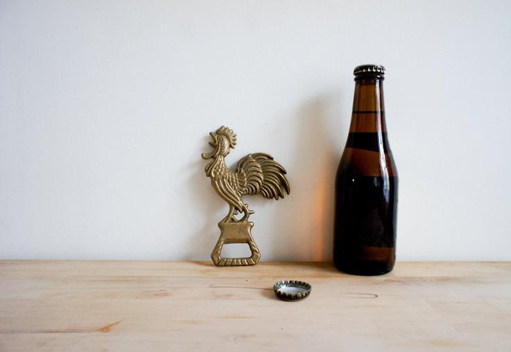 vintage brass french bottle opener in the shape of a rooster brass bottle and bottle opener. Black Bedroom Furniture Sets. Home Design Ideas