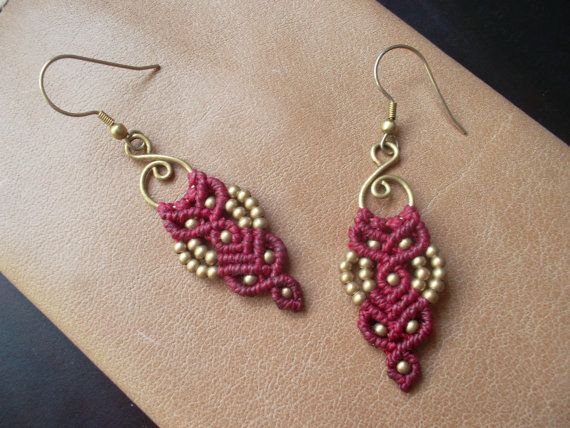 Red Macrame earrings with brass beads by LunaticHands on Etsy