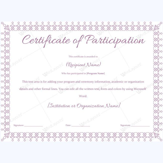 Certificate of Participation Templates on