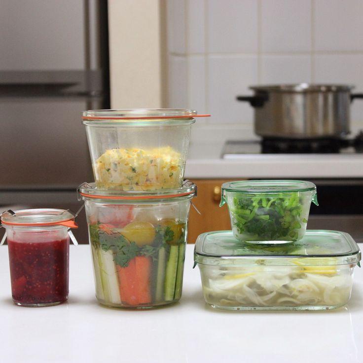 常備菜  三つ葉のおひたし、鯵のマリネ、サンドイッチ用玉子、ニンジンときゅうりとセロリとパセリとトマトのピクルス、ジャム