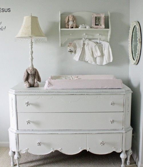 Uses for a vintage dresser - Changing table. Capture the vintage style you want for your little girl's nursery by using a low vintage dresser as a changing table.