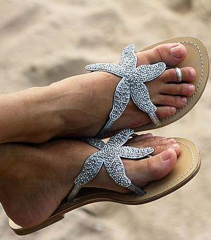 Silvery Starfish Beaded Sandal.