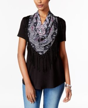 Style & Co Petite T-Shirt with Printed Fringe Scarf, Only at Macy's - Black P/XS