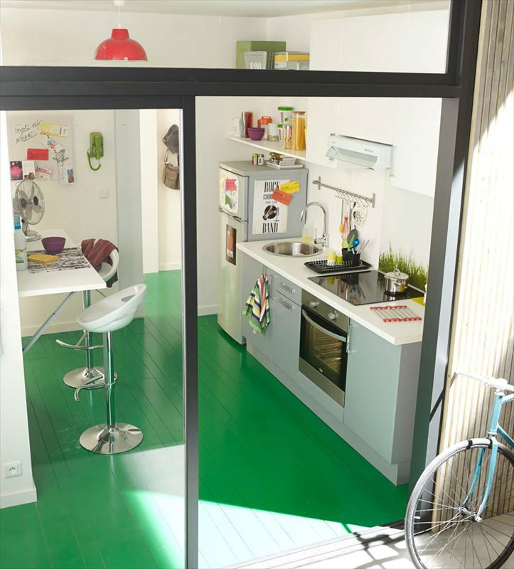 Green floor gray cabinets kitchens pinterest cuisine gray cabinets and - Leroy merlin cuisine catalogue ...