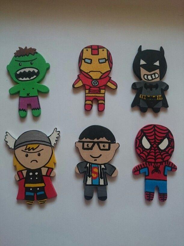 Superheros  hulk, ironman, batman, thor, superman, Spiderman,  My wood works