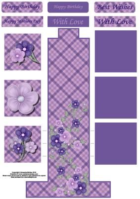 Lilac flowers waterfall sheet on Craftsuprint designed by Amanda McGee - A waterfall sheet featuring pretty lilac flowers. Fold lines are indicated on the sheet - Now available for download!