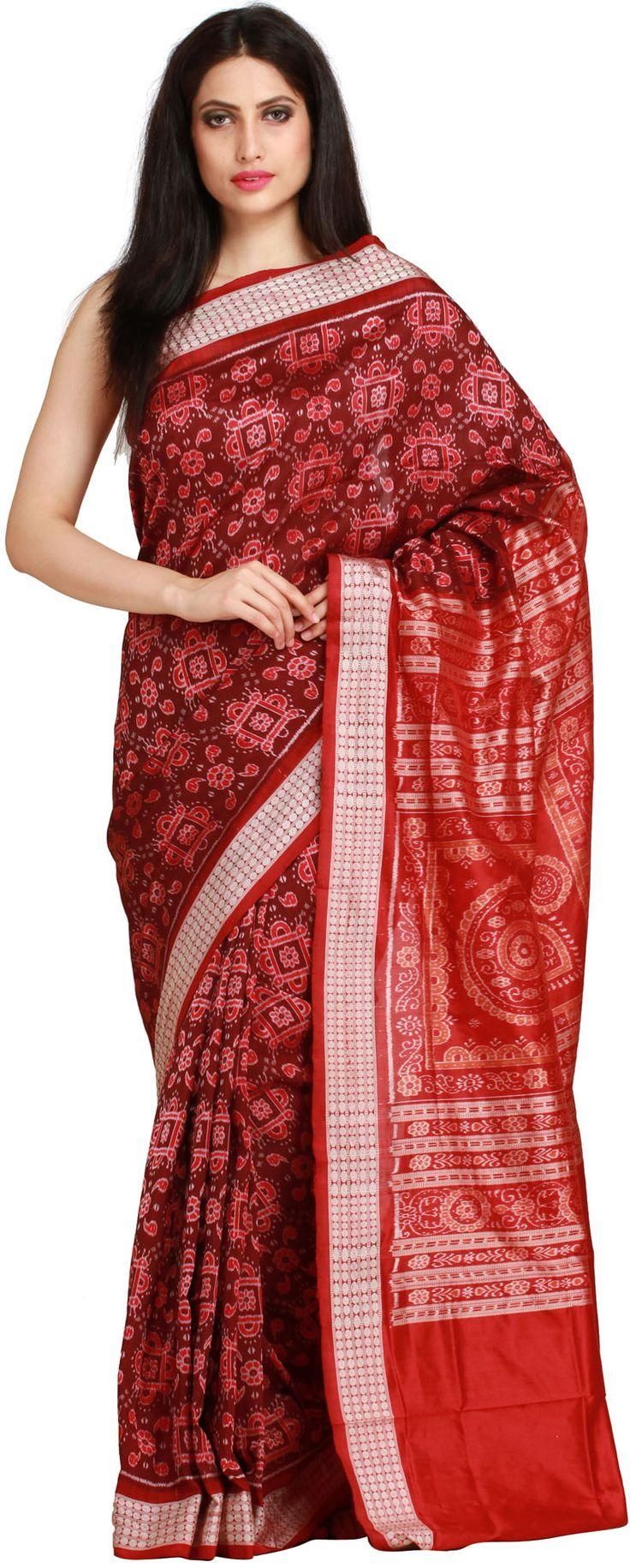 Chocolate and Red Sambhalpuri Handloom Sari from Orissa with Ikat Weave
