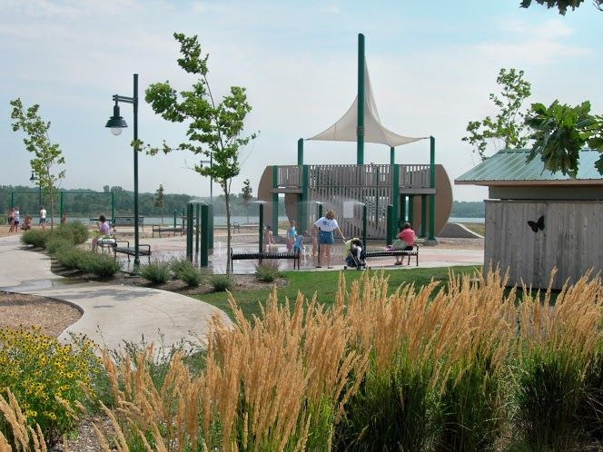 Raccoon River Park-The center piece for the playground is a large sailing ship that overlooks Blue Heron Lake.