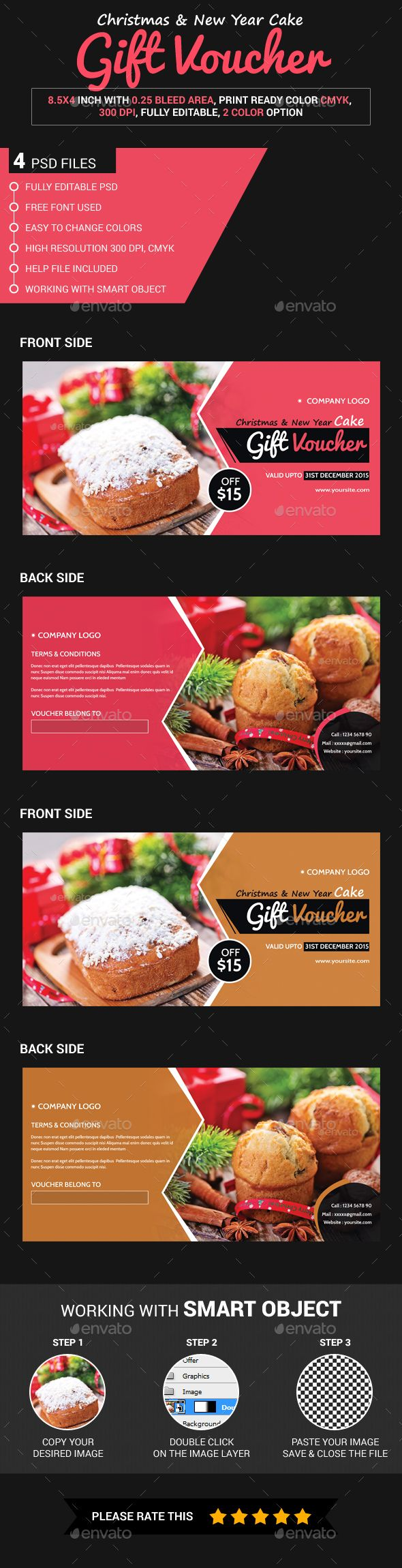 Christmas & New Year Cake Gift Voucher - Loyalty Cards Cards & Invites