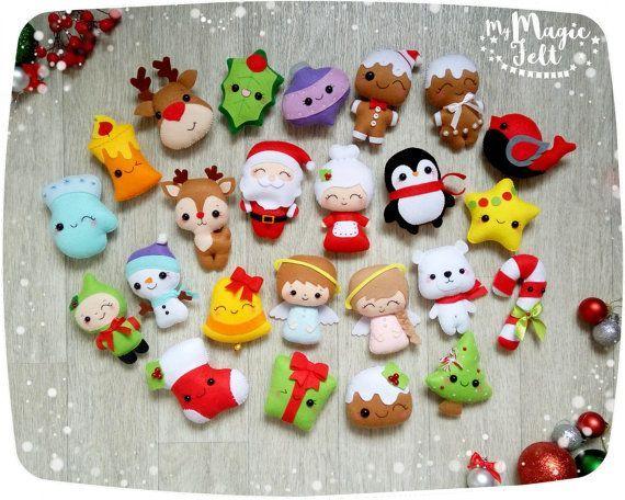 Adornos navideños fieltro conjunto de 24 adornos Navidad fieltro decoración…