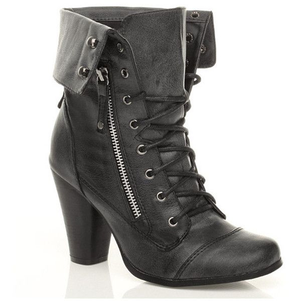 WOMENS LADIES CUFF COLLAR MILITARY LACE UP COMBAT HIGH HEEL ANKLE BOOTS SIZE