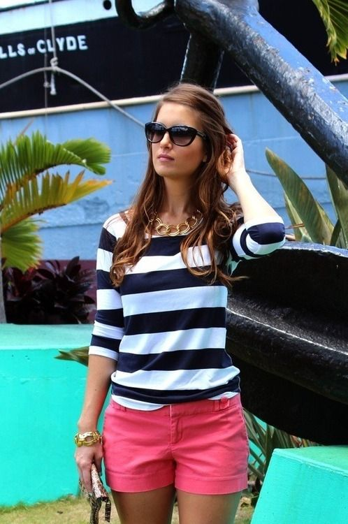 summer casual - black and white striped shirt + coral shorts