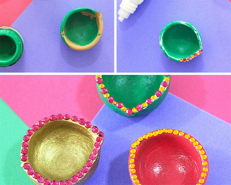 3 Ways to DIY Diyas this Diwali in 10 minutes or less. Click through for the tutorial by The Craftables