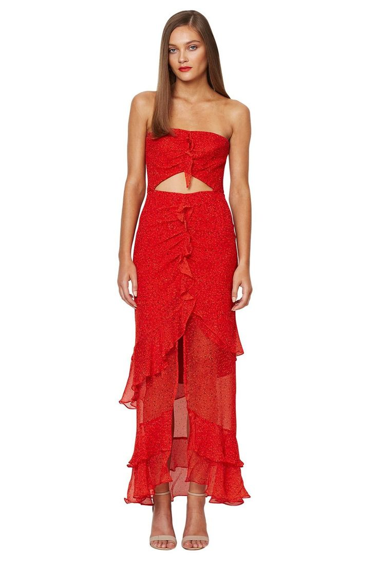 bec and bridge - French Kiss 100% Silk Maxi Dress Red