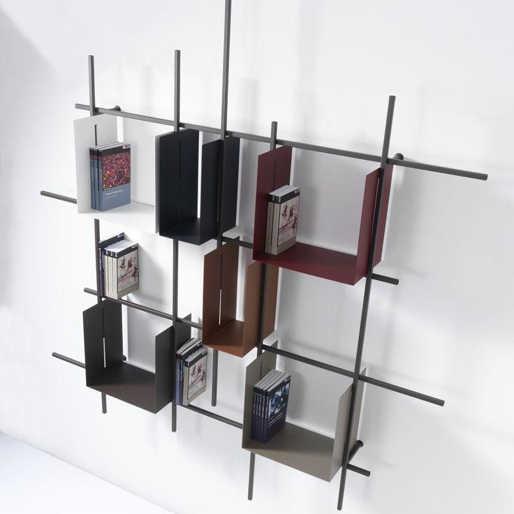 Libreria+da+parete+Libra2+in+acciaio+tubolare+160+x+180+cm