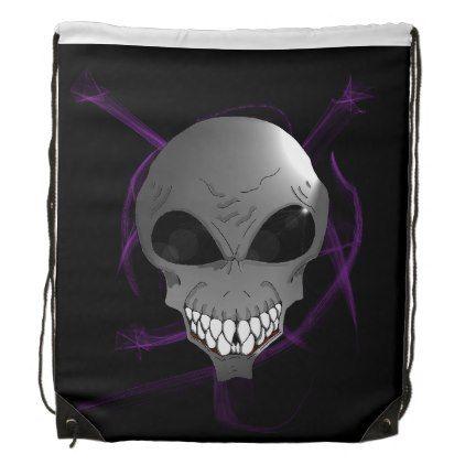 Grey alien Drawstring Backpack - accessories accessory gift idea stylish unique custom