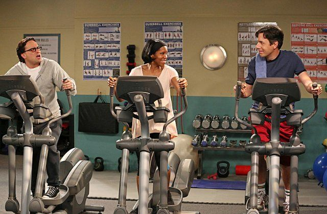 Still of Regina King, John Ross Bowie and Johnny Galecki in The Big Bang Theory