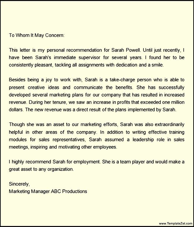 Letters Of Recommendation For A Job Letter Of Recommendation