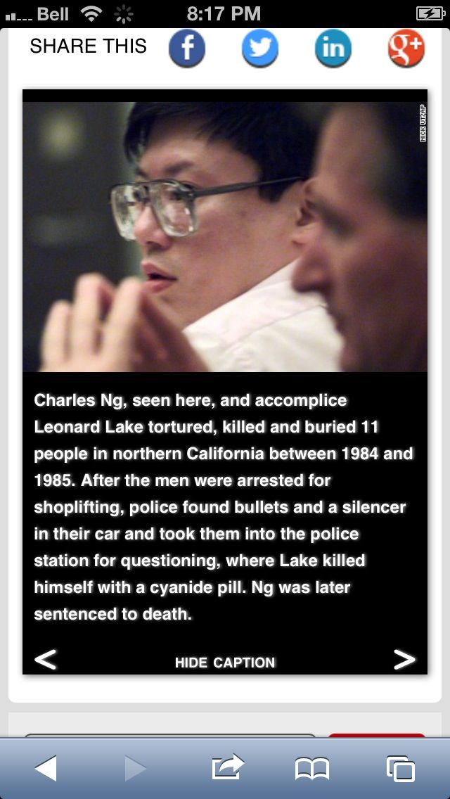 Serial killer - Charles Ng and Leonard Lake killed and buried 11 in Northern California