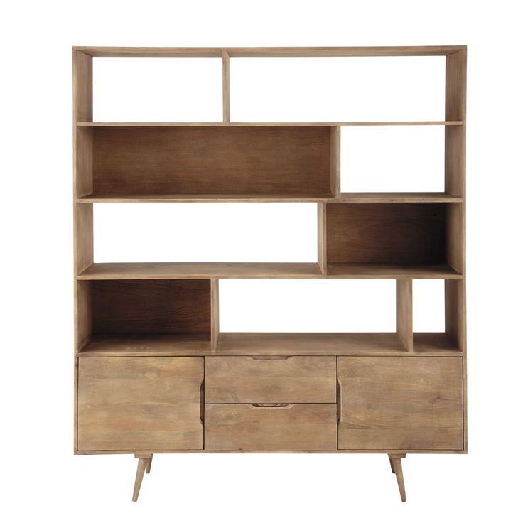 Grijze massief mango-houten vintage boekenkast L 162 cm - Trocadero Trocadero