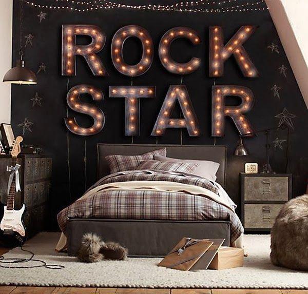 10 Teenage Boys Music Bedrooms | Decorazilla Design  Blog - love the rock star lighted sign
