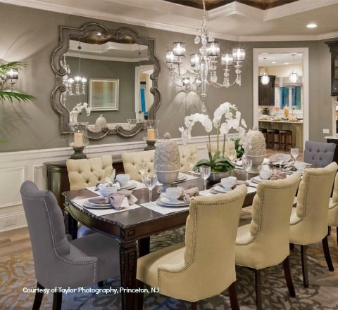 Color-Trends-2014: Champagne chooses gray for its dinner partner in this casually elegant interior. From Bromley Estates Dining Room, Toll Brothers, Weddington, NC