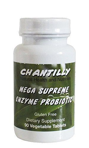 Chantilly Mega Supreme Enzyme Probiotic - Digestive Enzymes Plus Probitics for Men and Women - Chewable Gluten Free Dietary Supplement - 90 Vegetable Tablets - Maximum Support of Intestinal Function ** To view further for this item, visit the image link. #vitaminA #vitamins #FF